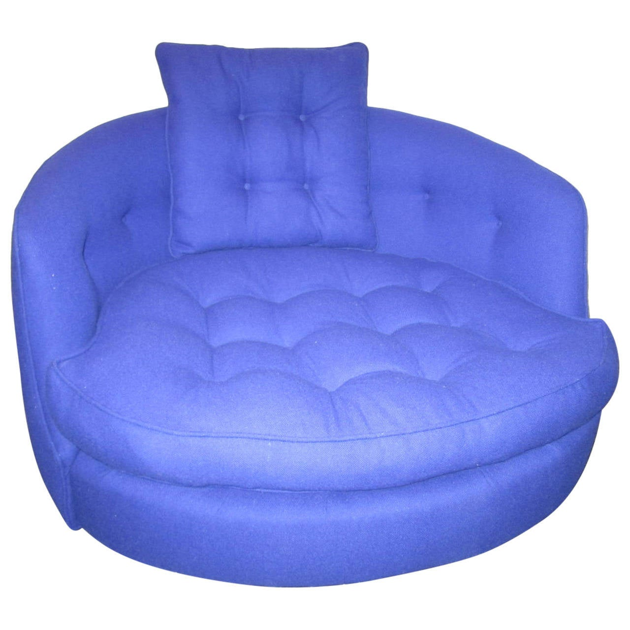Fabulous oversized round circular milo baughman swivel lounge chair at