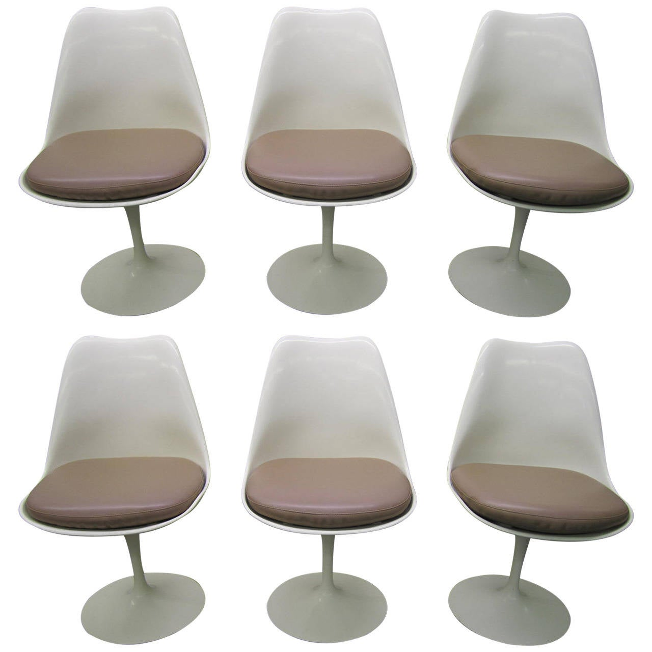 Vintage Mid Century Dining Rooms: Six Vintage Knoll Saarinen White Tulip Swivel Dining