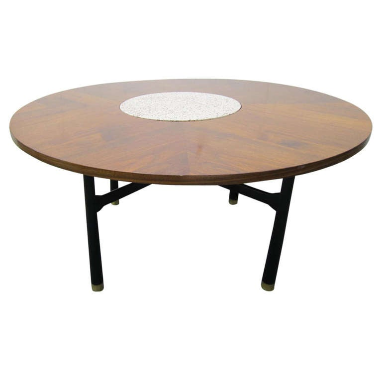 Fabulous Harvey Probber Walnut And Travertine Marble Coffee Gaming Table At 1stdibs