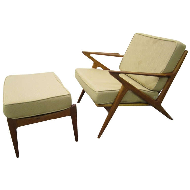 Fabulous poul jensen teak z arm lounge chair plus ottoman for Z chair mid century