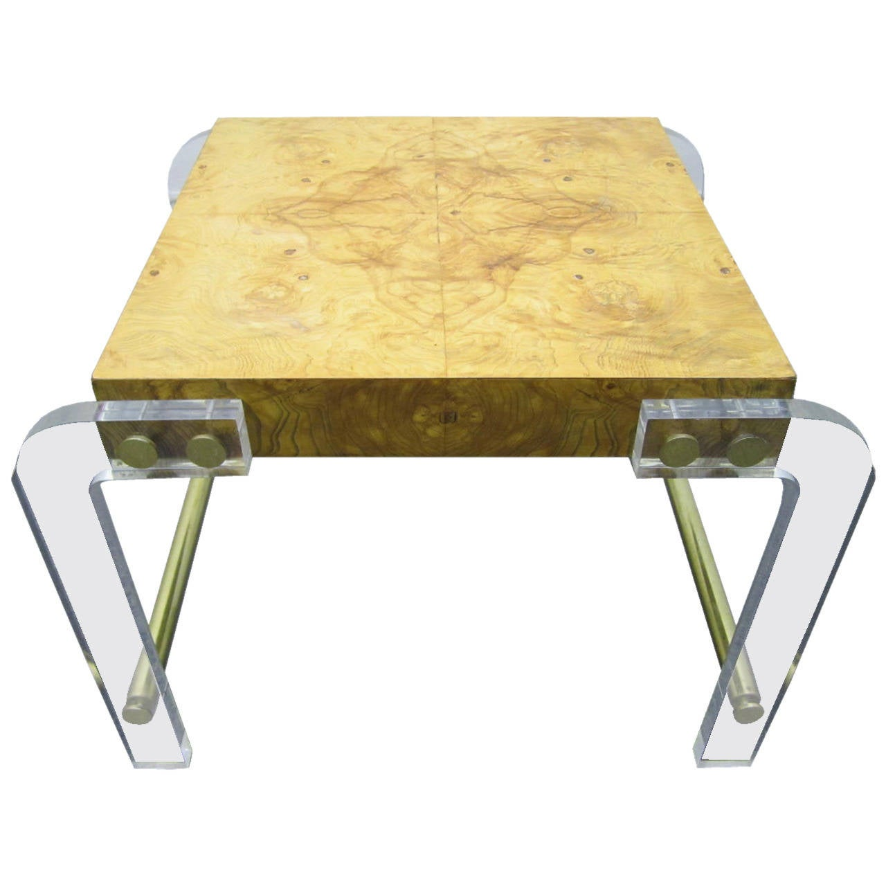 milo baughman lucite and olive ash burl side end table midcentury  - milo baughman lucite and olive ash burl side end table midcentury modern