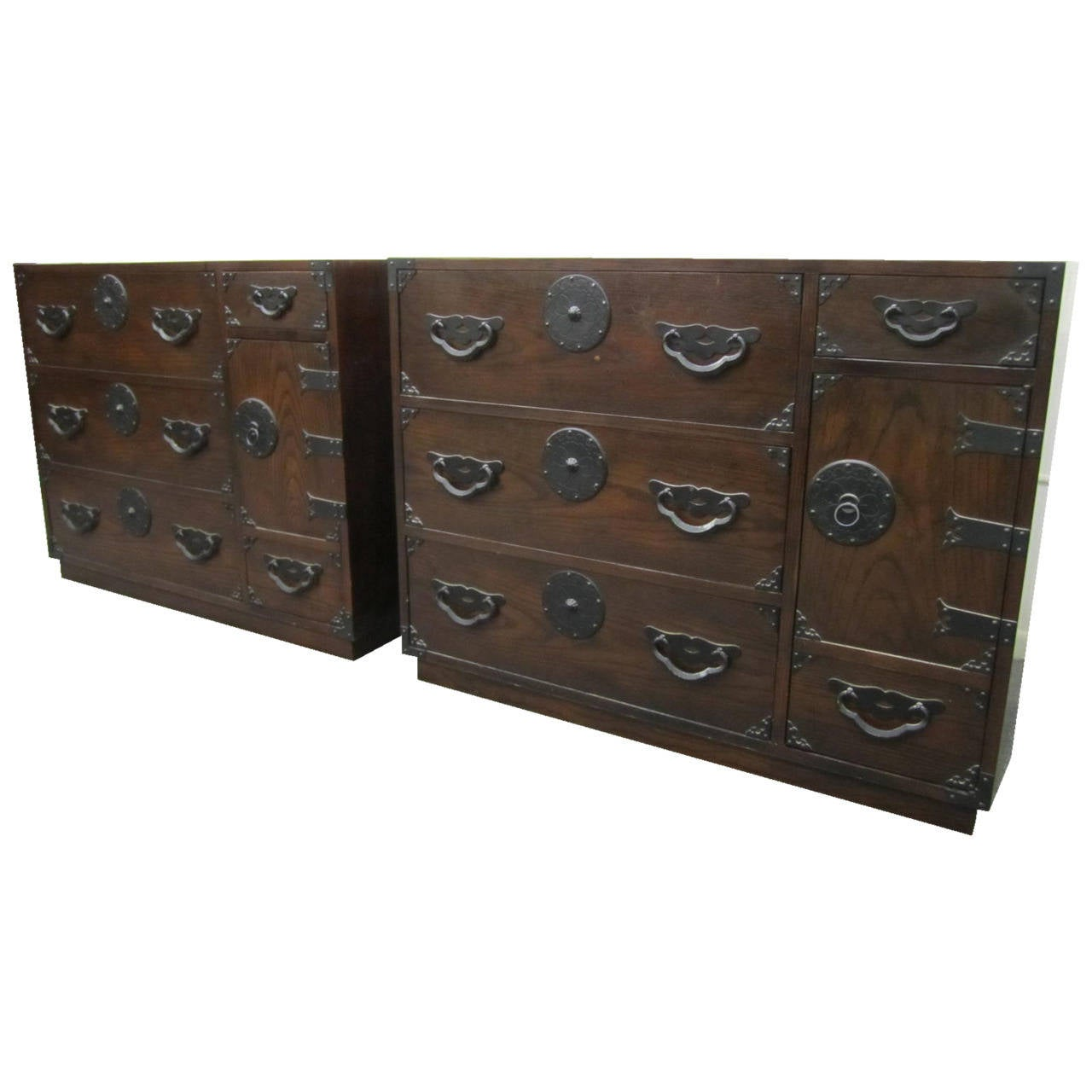 Exciting Pair Of Baker Modern Asian Tansu Chest Cabinets, Mid Century Modern
