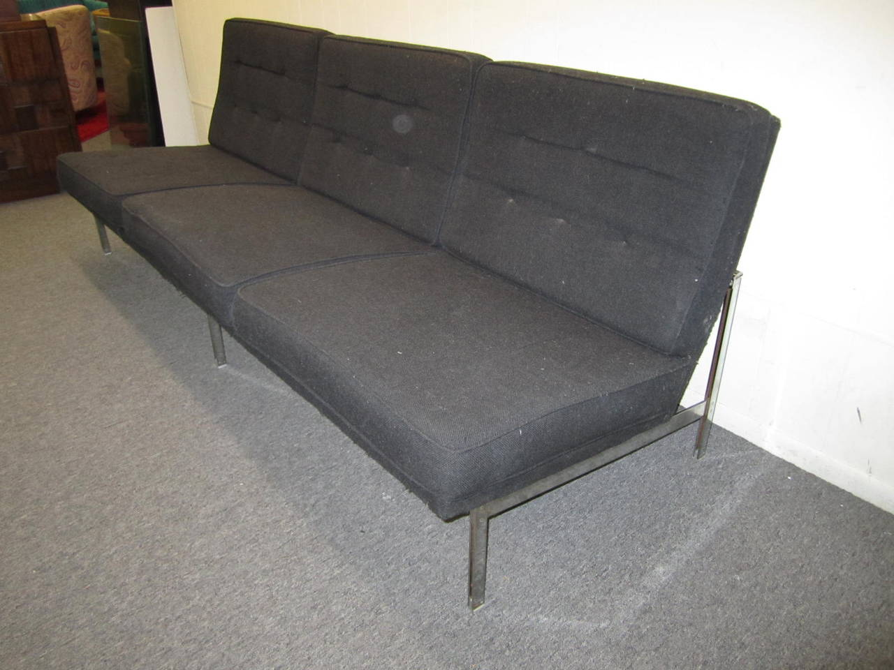 Handsome Florence Knoll Parallel Bar Armless Sofa, Mid-Century Modern