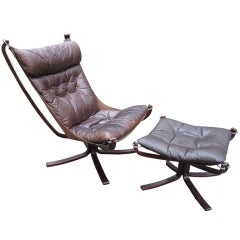 Falcon Chair And Ottoman Danish Modern Rosewood Leather Mid-century