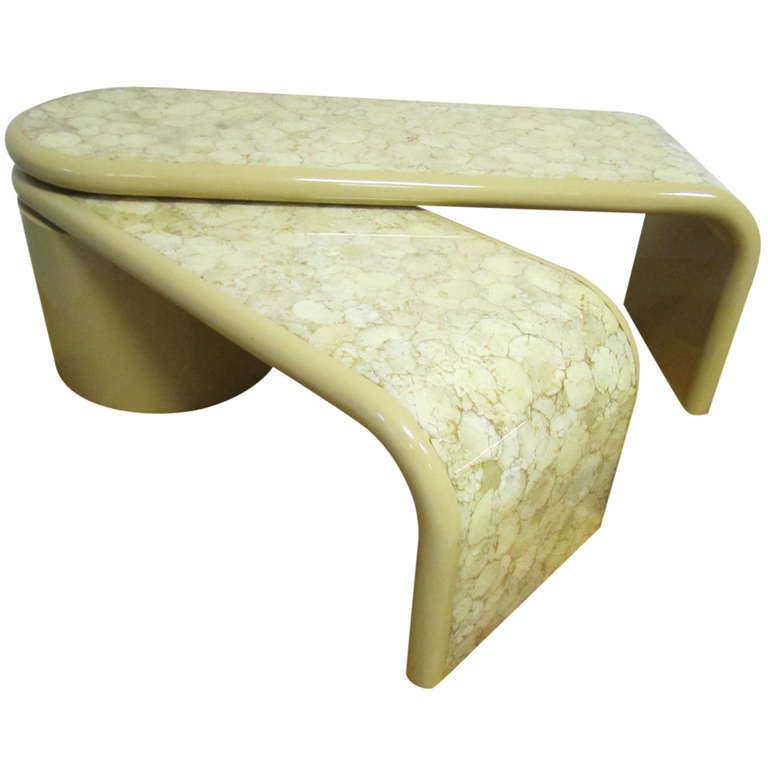 Awesome Stephen Chase Style Resin And Onyx Rolling Coffee Table Mid Century Modern At 1stdibs
