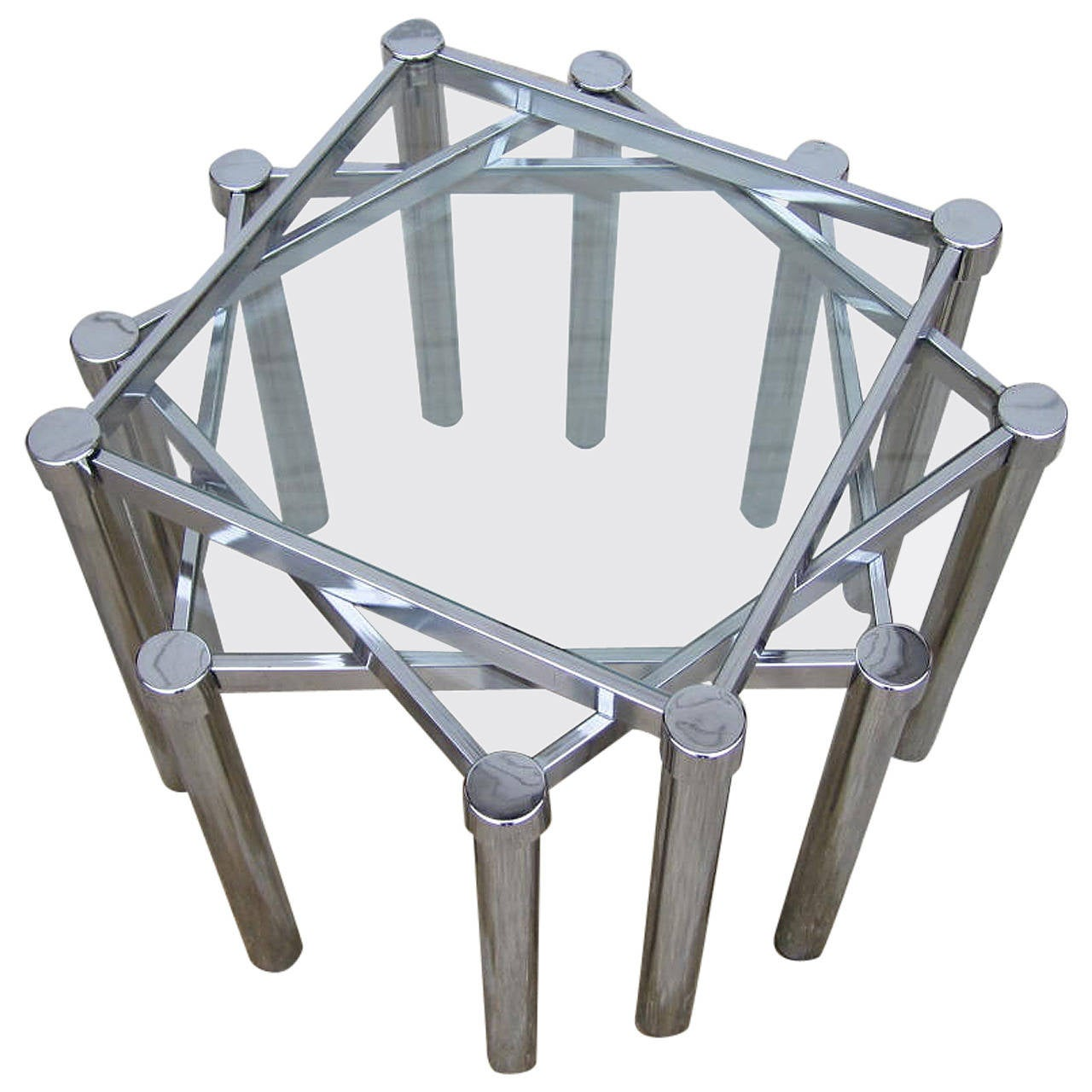 Fun set of milo baughman style square chrome and glass stacking fun set of milo baughman style square chrome and glass stacking nesting tables 1 geotapseo Image collections