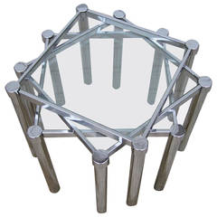 Fun Set of Milo Baughman Style Square Chrome and Glass Stacking Nesting Tables