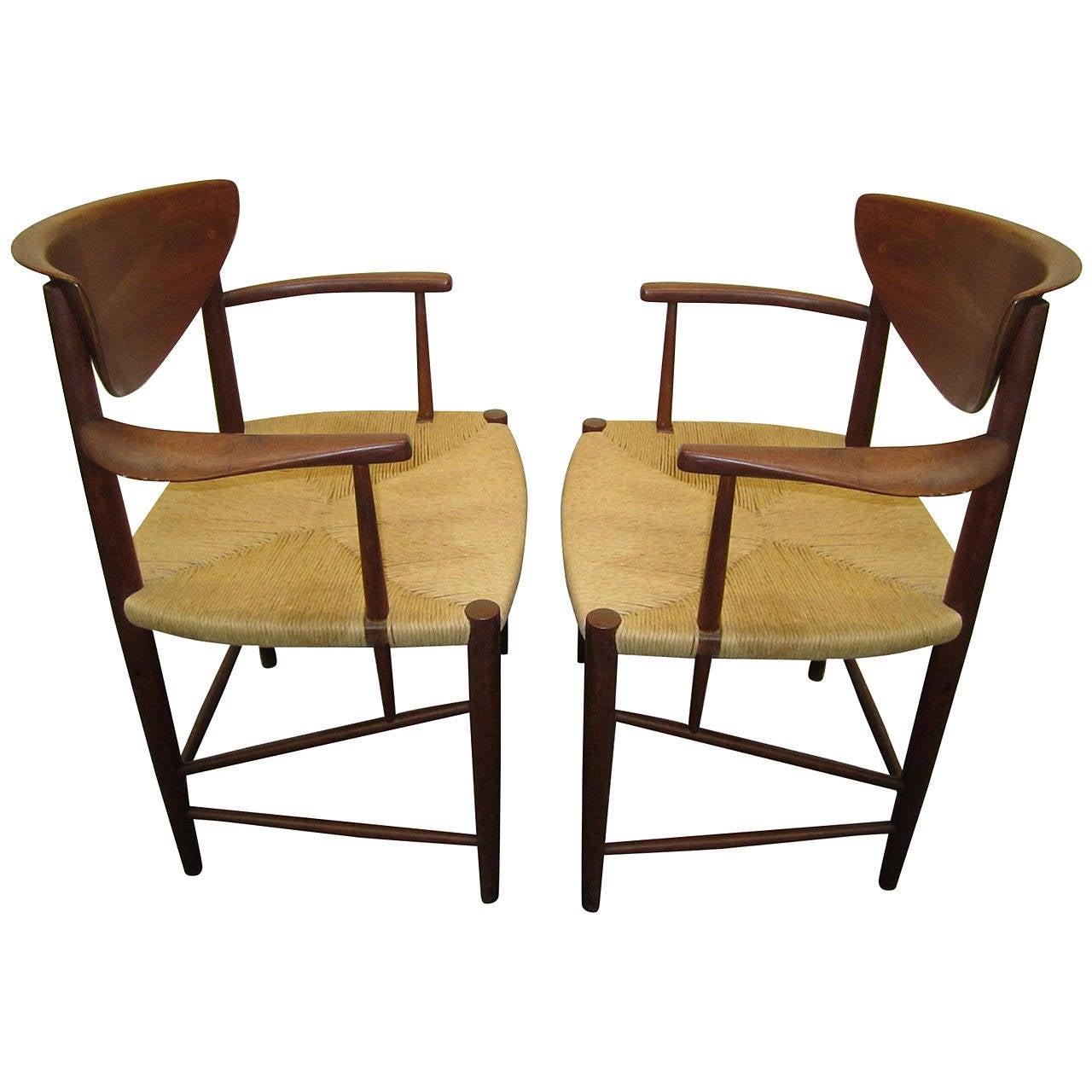 Pair Of Hvidt Molgaard Teak Dining Arm Chairs Mid Century