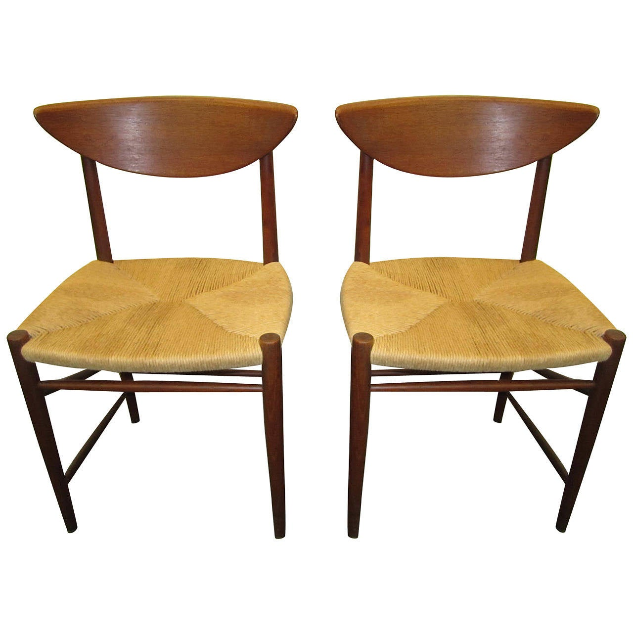 Pair Of Hvidt Molgaard Teak Dining Chairs Mid-century