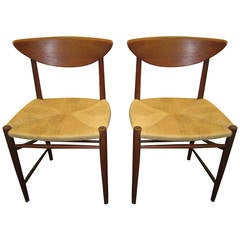 Pair of Hvidt Molgaard Teak Dining Chairs Mid-century Danish Modern