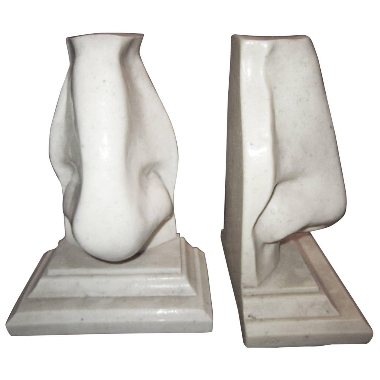 Unusual Pair of Italian Mid-Century Modern Oversized Nose Bookends