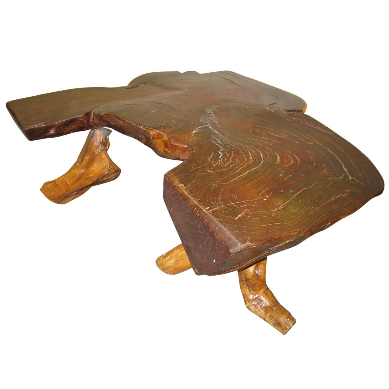 Organic redwood free edge coffee table mid century modern for Modern coffee table sale