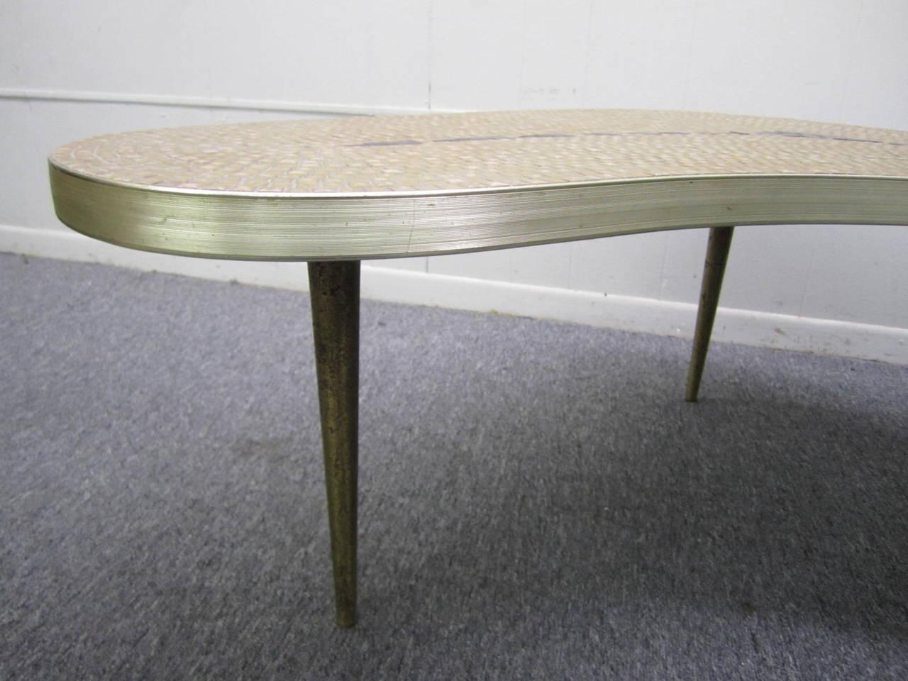 Fun Mid Century Modern Boomerang Shaped Gold Mosaic Tile Top Coffee Table At 1stdibs
