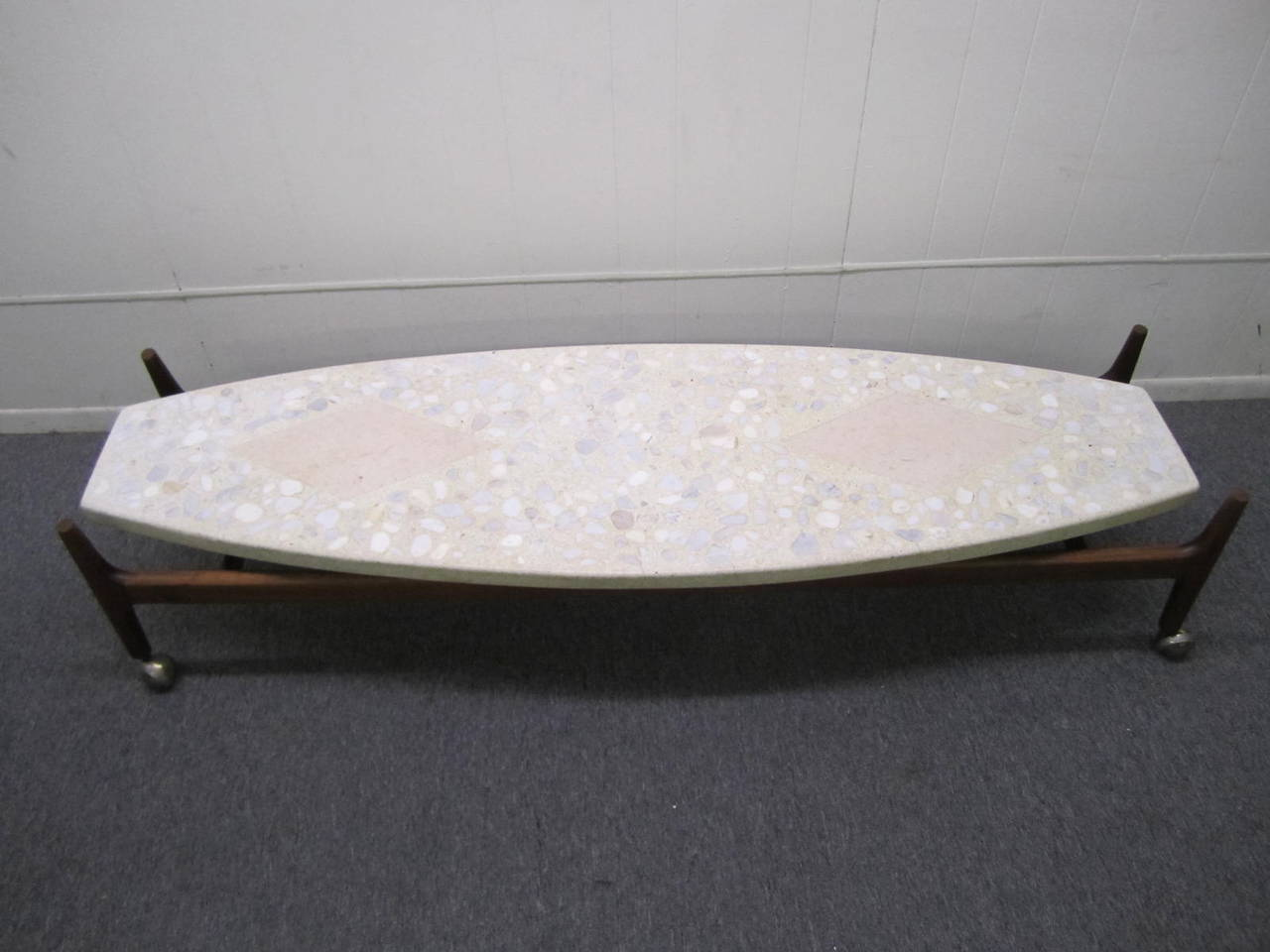 Harvey Probber Coffee Table W Terrazzo And Travertine Top