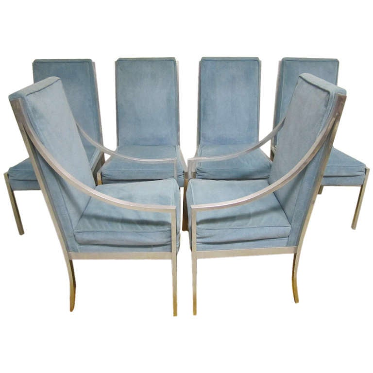 Wonderful Set Of 6 Solid Aluminum Milo Baughman Style Dining Chairs Mid Century Modern For