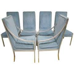 Wonderful Set of 6 Solid Aluminum Milo Baughman style Dining Chairs Mid-century Modern