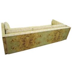 Amazing Burled Olivewood Milo Baughman Style Case Sofa Mid-Century Modern
