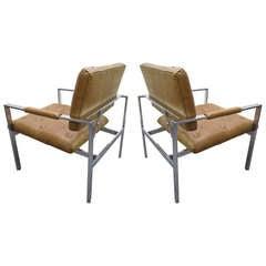 Pair Milo Baughman Thayer Coggin Lounge Chairs Mid-century Modern