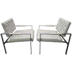 Lovely Pair of Milo Baughman Thayer Coggin Tufted Chrome Lounge Chairs