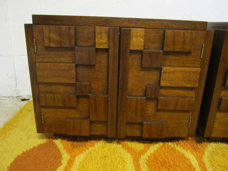Mid-Century Modern Two Paul Evans Inspired Brutalist Mosaic Night Stands from Lane For Sale
