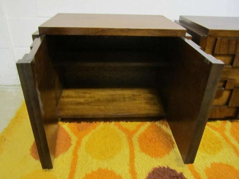 Mid-20th Century Two Paul Evans Inspired Brutalist Mosaic Night Stands from Lane For Sale