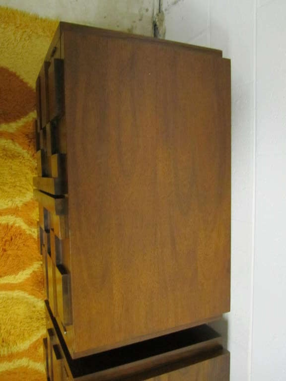 American Two Paul Evans Inspired Brutalist Mosaic Night Stands from Lane For Sale