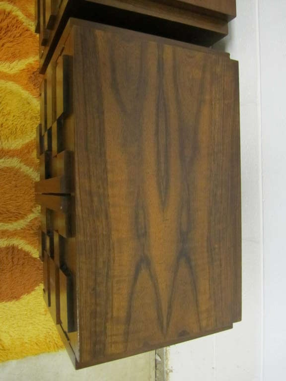Two Paul Evans Inspired Brutalist Mosaic Night Stands from Lane In Good Condition For Sale In Pemberton, NJ