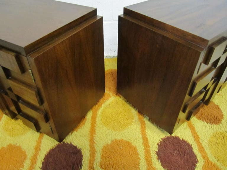 Two Paul Evans Inspired Brutalist Mosaic Night Stands from Lane For Sale 1