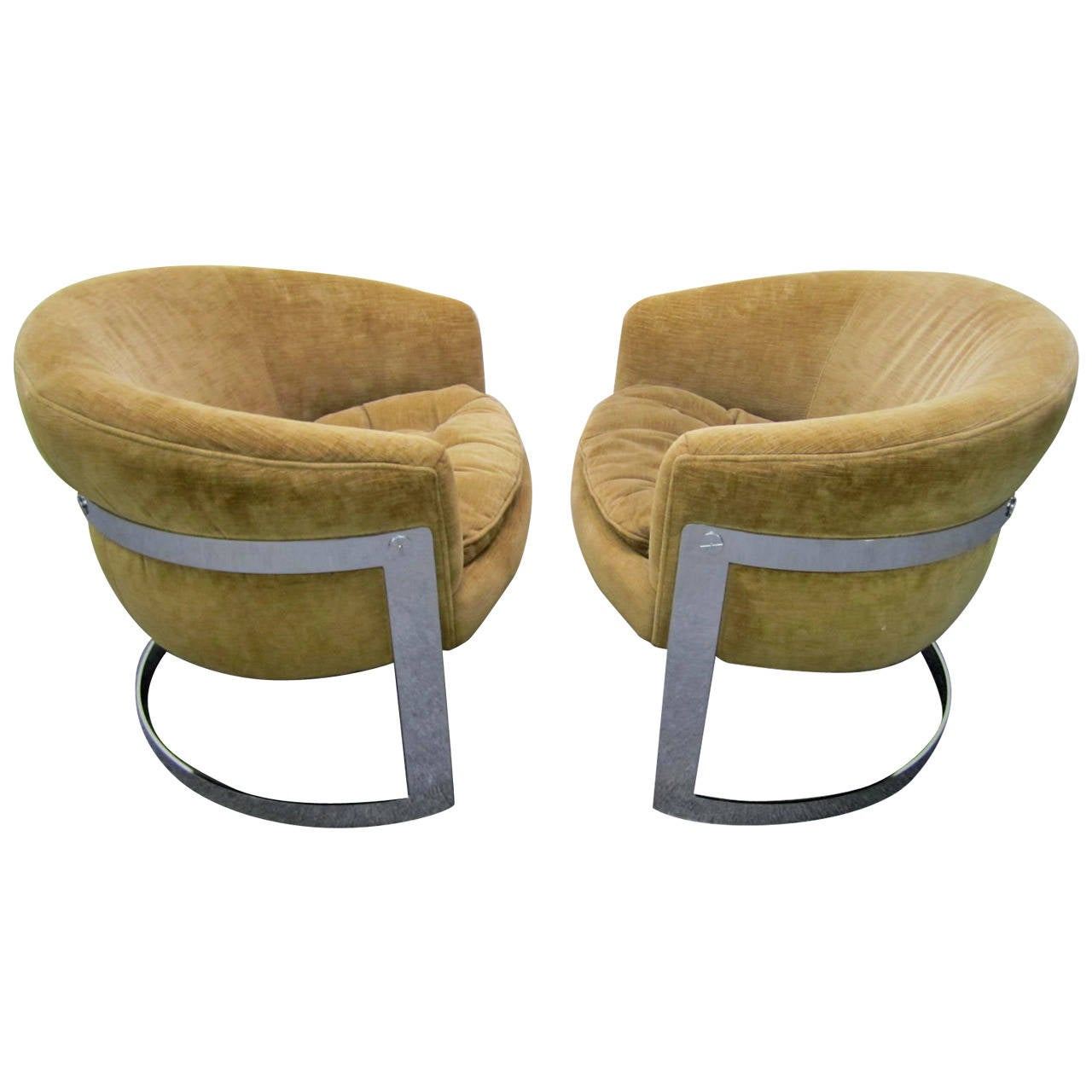 Merveilleux Pair Of Barrel Back Chrome Lounge Chairs, Mid Century Modern