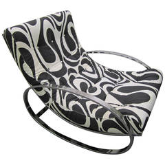 Exciting Milo Baughman Style Chrome Oval Rocker Panton Fabric, Mid-Century