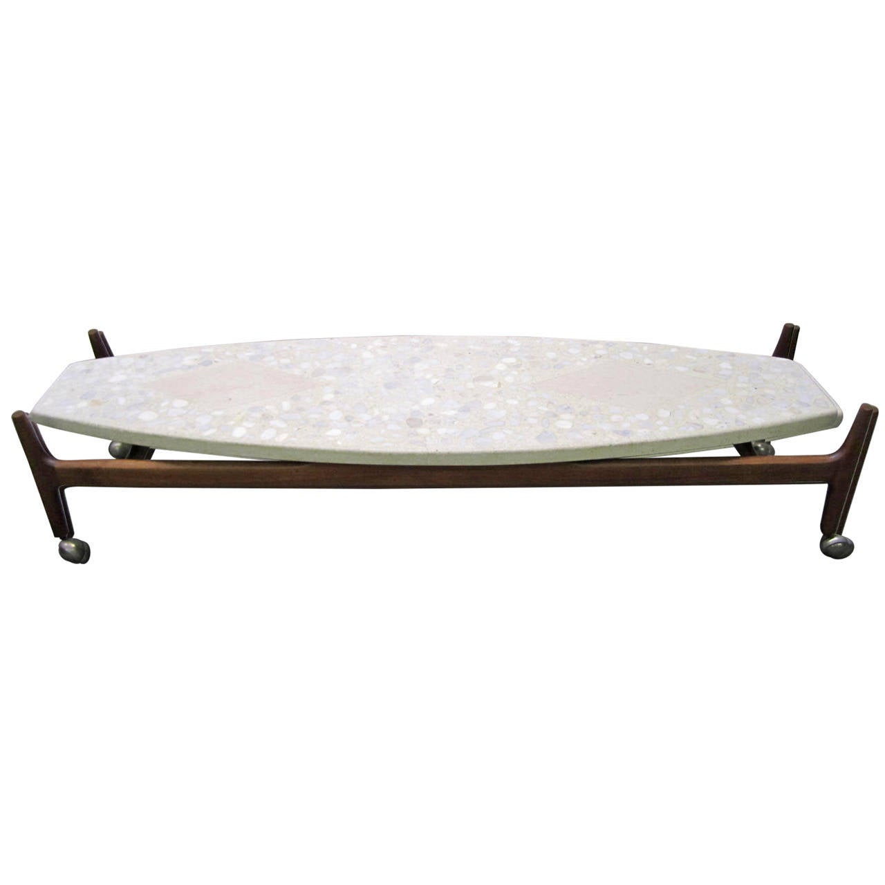 Harvey Probber Coffee Table w/ Terrazzo & Travertine Top on Walnut Base