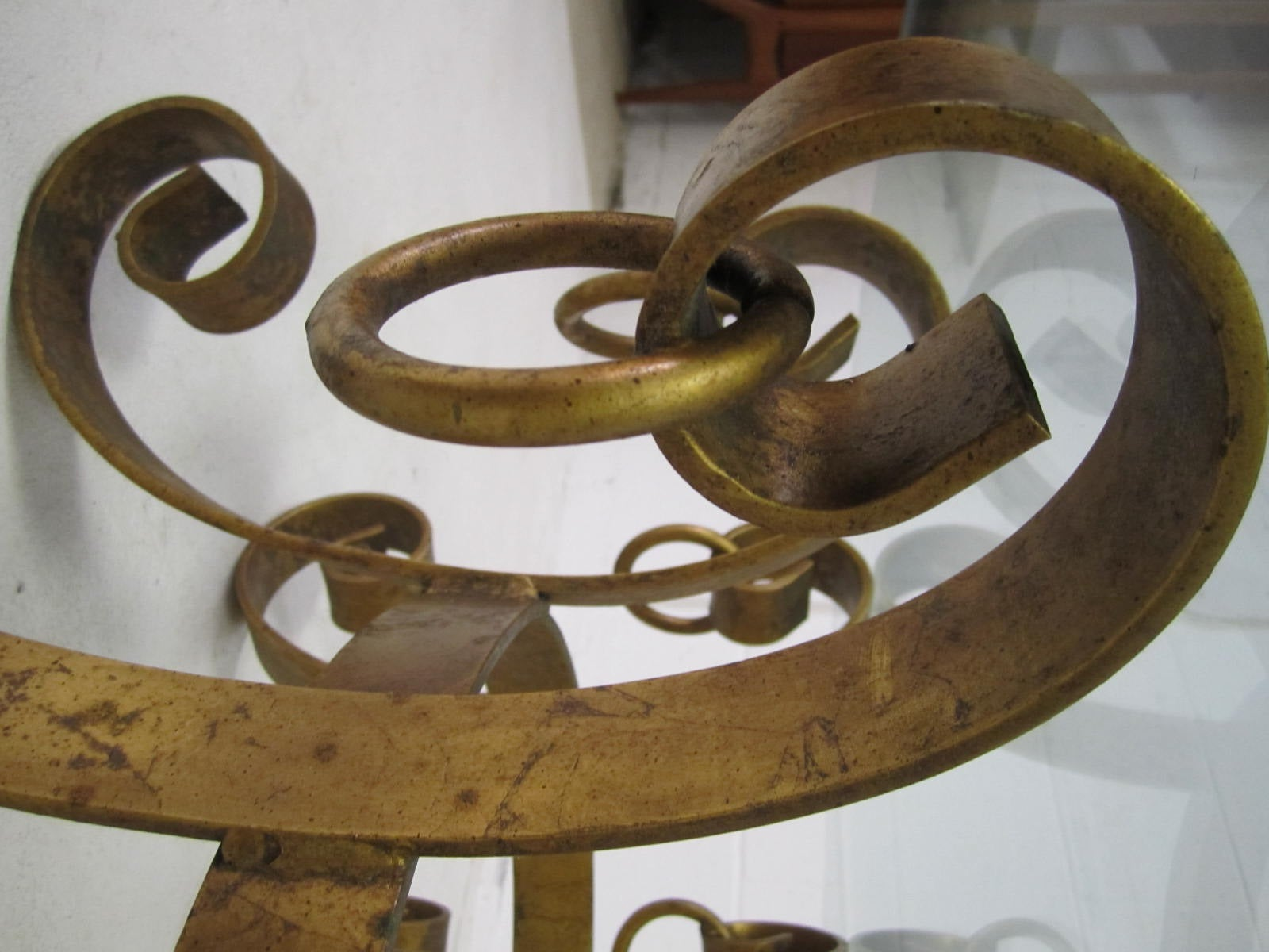 Beautiful gilded iron scroll coffee table hollywood regency modern at