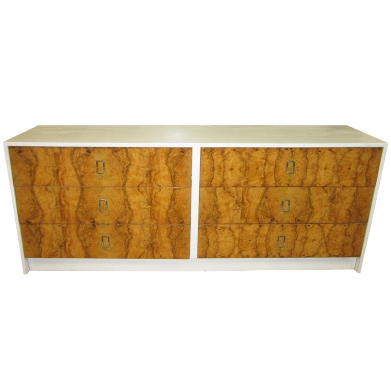 Gorgeous milo baughman olive wood credenza mid century for Mid century modern wood furniture
