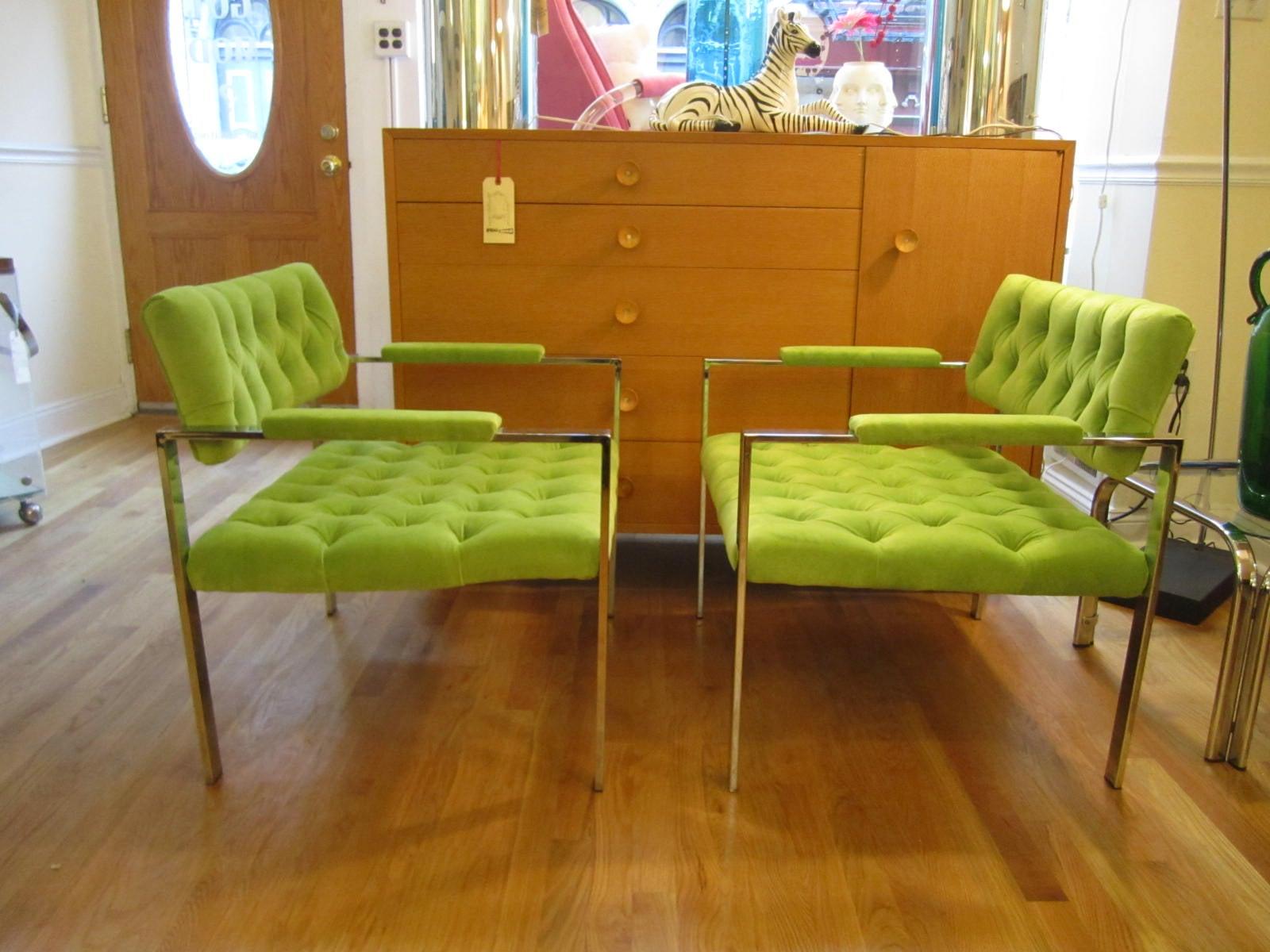 Stunning Pair Mid-Century Modern Tufted Chrome Flat Bar Lounge Chairs