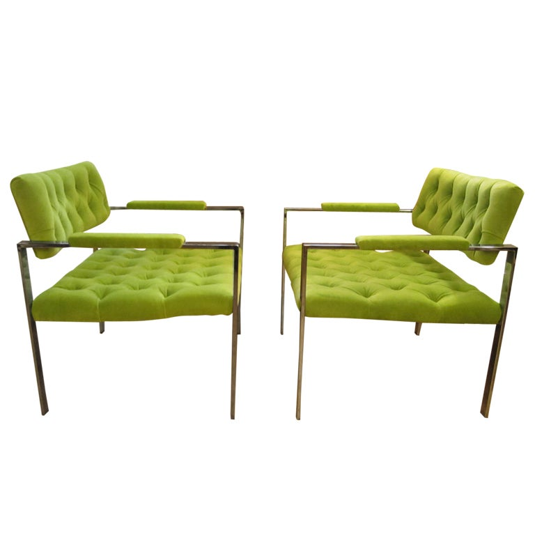 Pair Milo Baughman Tufted Chrome Flat Bar Lounge Chairs, Mid-Century