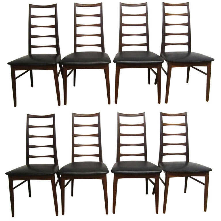 Set of 8 Koefoeds Hornslet Teak Dining Chairs Mid-Century Danish