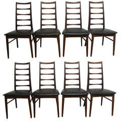 Set of Eight Koefoeds Hornslet Teak Dining Chairs Midcentury Danish