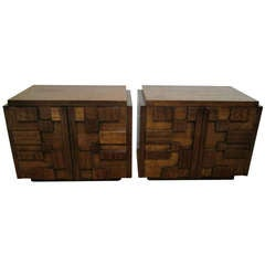 Two Paul Evans Inspired Brutalist Mosaic Night Stands from Lane