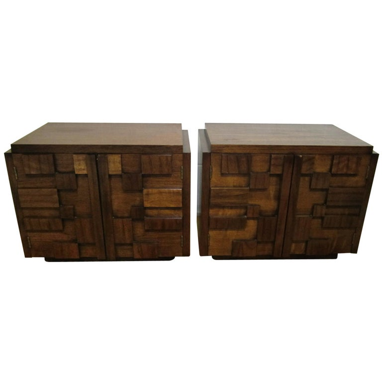 Two Paul Evans Inspired Brutalist Mosaic Night Stands from Lane For Sale