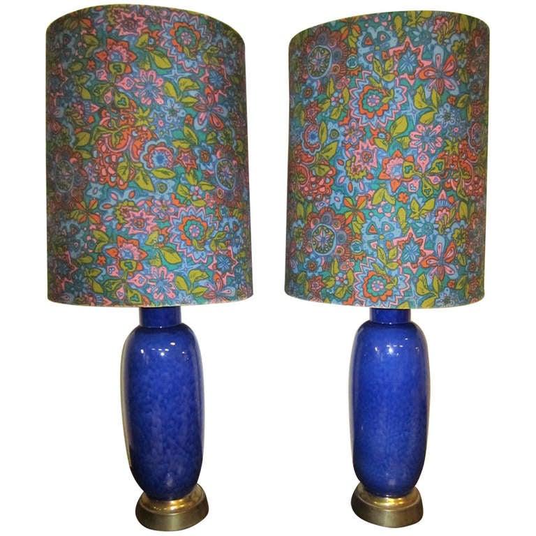 Gorgeous Pair of Cobalt Blue Ceramic Drip Glaze Lamps Mid-century Modern