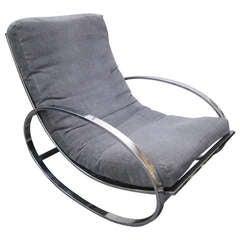 Fabulous Milo Baughman Style Chrome Oval Rocking Chair, Mid-Century Modern