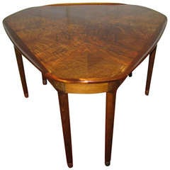 Gorgeous Danish Modern Burled Walnut Triangular Side Table Mid-Century