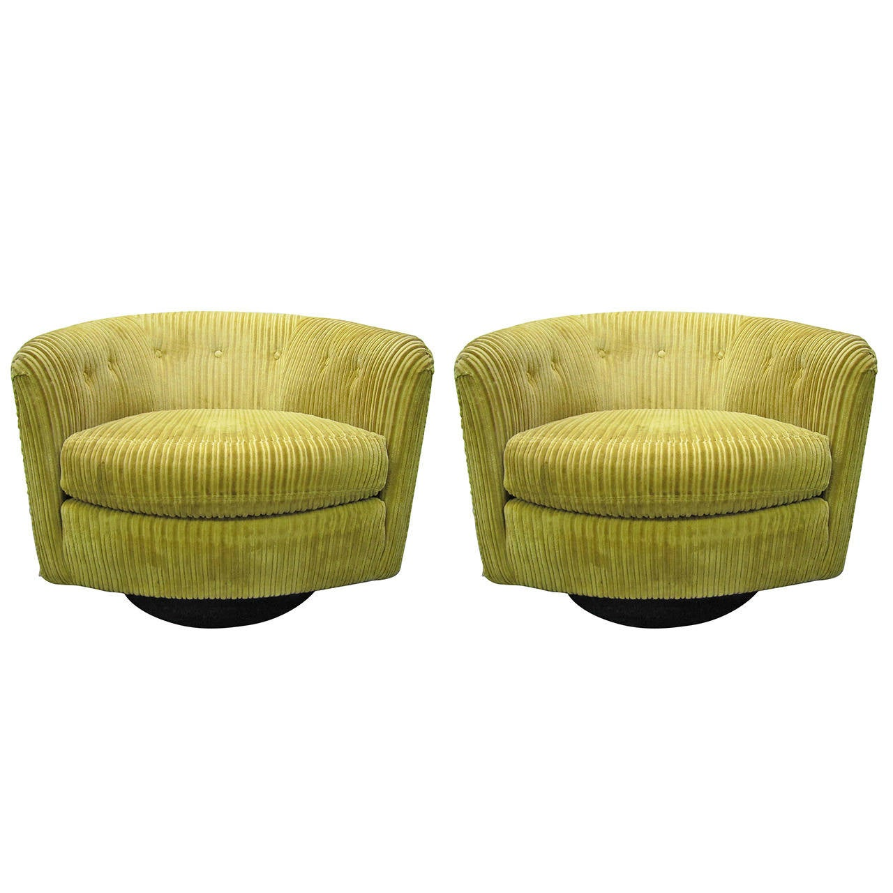 Wonderful Pair Milo Baughman Style Swivel Barrel Back Tub Chairs  Mid Century For Sale