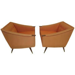 Unusual Pair of Signed Karpen Boxy Lounge Chairs, Mid-Century Modern