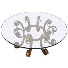 Beautiful Gilded Iron Scroll Coffee Table Hollywood Regency Modern