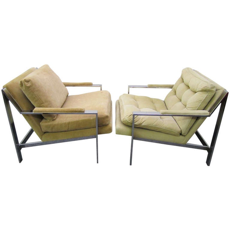 Pair Of Milo Baughman Style Chrome Flat Bar Lounge Chairs