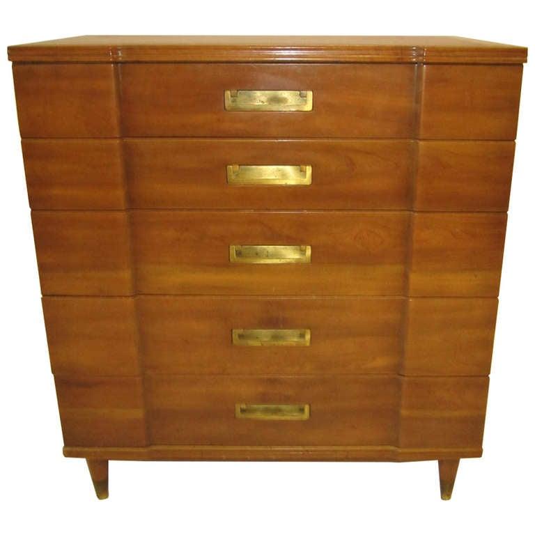 Gorgeous John Widdicomb Asian Influenced Tall Dresser Mid Century Modern For