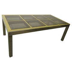 Mastercraft Brass Dining Table with Bevelled Glass Insets Regency Modern