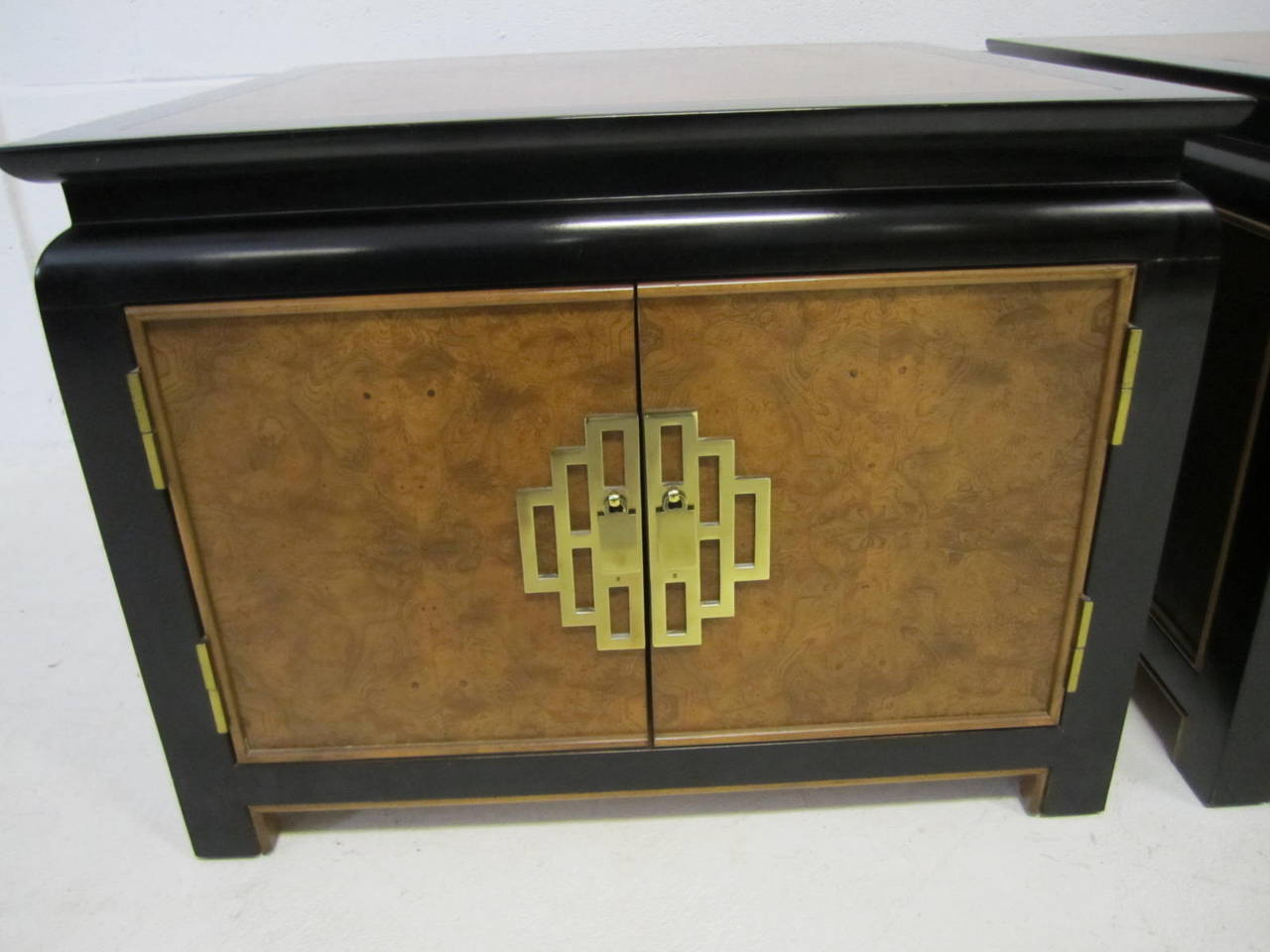 Pair Of Chinoiserie Asian Inspired Baker End Side Tables Or Night Stands For Sale At 1stdibs