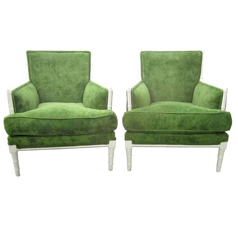 Stunning Pair Of Faux Bamboo Upholstered Lounge Chairs Regency Modern